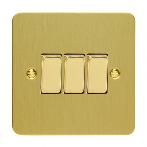 Varilight XFB3D Ultraflat Brushed Brass 3 Gang 10A 1 or 2 Way Rocker Light Switch